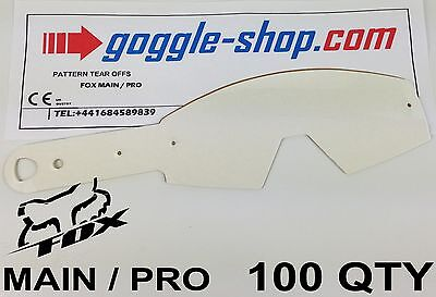 100 qty GOGGLE-SHOP MOTOCROSS TEAR OFFS to fit FOX MAIN / PRO GOGGLES flippers
