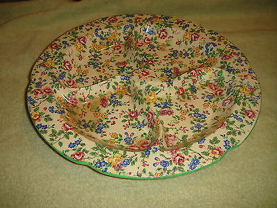 Antique Hand Painted H Japan Chintz Divided Dish-Curved Divisions-Scalloped Rim