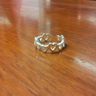925 Sterling Silver Toe Ring Band of Hearts Adjustable Pinky Stretch Love