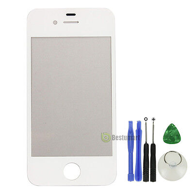 Replacement Front Screen Glass Lens Cover for iPhone 4S White + Tools Kit US