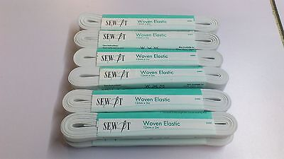 "PACK OF 10 : ""SEW IT""  12mm X 3mt WHITE WOVEN ELASTIC"