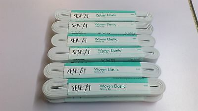 "PACK OF 12 : ""SEW IT""  12mm X 3mt WHITE WOVEN ELASTIC"