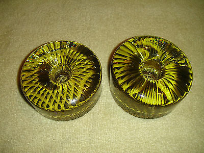 Amazing Scandinavian Glass Candle Holders-Peridot Color Bee Hive Cone Glass-Pair