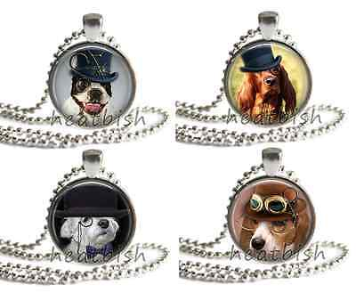 STEAMPUNK DOGS Puppy Glass Round Circle Photo Pendant Charm Accessory Jewelry