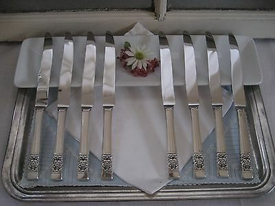 Vintage Set of 8 CORONATION…Silverplate New French Dinner Knives Community…1936
