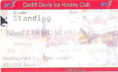 CARDIFF DEVILS v SHEFFIELD STEELERS 28 Jan 2001 ICE HOCKEY TICKET, CARDIFF