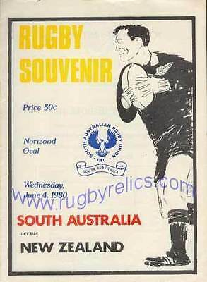 SOUTH AUSTRALIA v NEW ZEALAND 4 Jun 1980 RUGBY PROGRAMME at NORWOOD