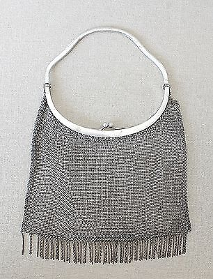 ART DECO SILVER PLATE SIGNED: ALPACCA N.L MESH EVENING BAG
