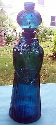 VINTAGE BLUE LADY MOLDED ITALIAN GLASS DECANTER 1960'S