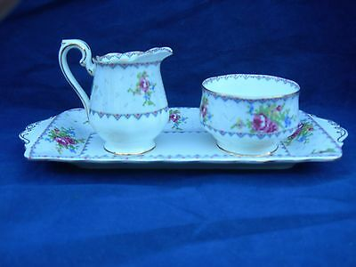 Royal Albert Petit Point Cream and Sugar Set with Tray HTF England Free Shipping