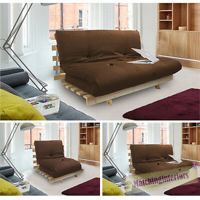 Brown Studio Futon Wooden Frame Sofa Bed Thick Sleeping Mattress Student Dig
