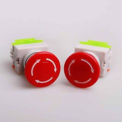 2x Industrial Emergency Stop Switch Push red Button 22mm Mounting hole 600V