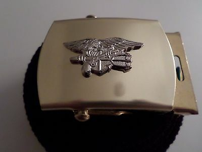 U.s Military Style Black Web Belt With Navy Seals Silver Insignia Brass Buckle