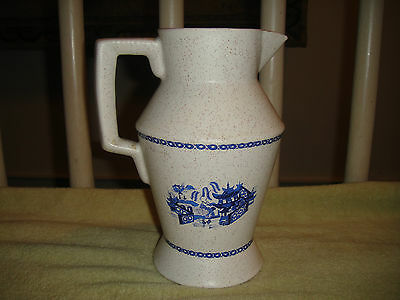 Vintage Mid Century Modern Pottery Pitcher-Square Handle-Blue Pattern-Speckled
