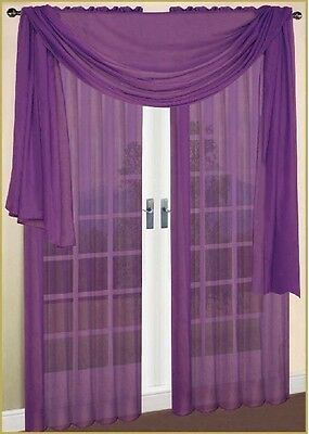 "SHEER / SCARF Window Treatments Curtains Drape Valances 63"" 84"" 95"" PURPLE"