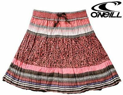 WOMEN'S O'NEILL SUMMER IMILIA GYPSY SKIRT PINK cotton ladies girls crinkle NEW
