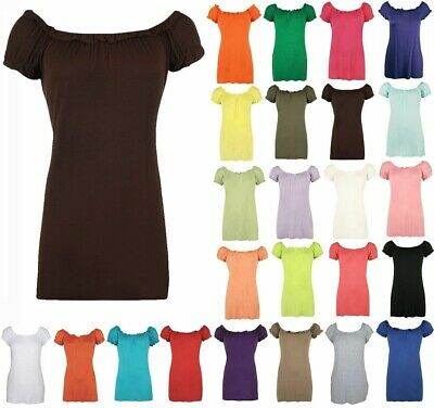 New Ladies Plain Off Shoulder  Womens Elasticated Gathered Gypsy Top 14-28