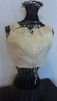 circa 1900's Crochet yoke with silk ribbon tie for Corset Cover or Chemise