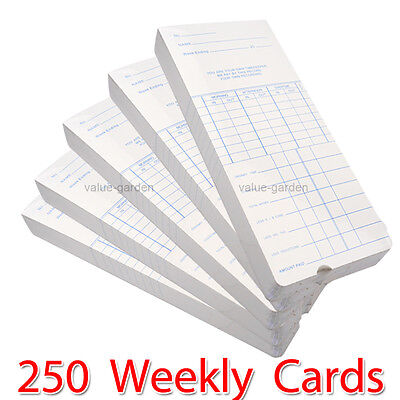 250 Weekly Payroll Cards For Employee Time Attendance Bundy Clock Recorder