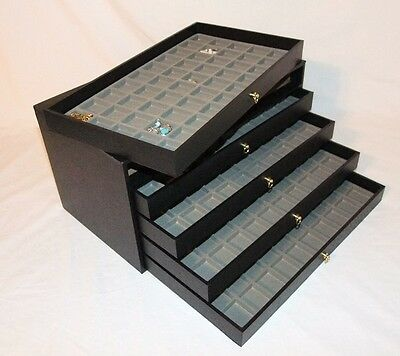 5 DRAWER Grey 360 Ring Storage Organizer Jewelry Organizer Cabinet