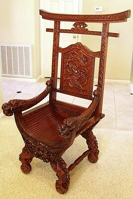 Antique Carved Dragon Chair