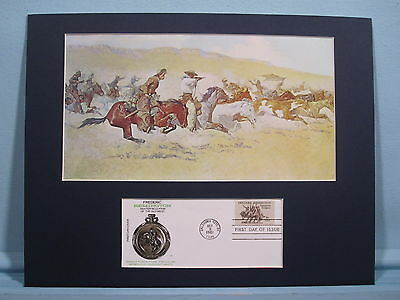 """Fight for the Stolen Herd"" painted by Frederic Remington  & First Day Cover"