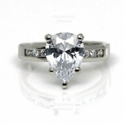 Pear CZ Silver Engagement Ring 1.08 CTW Cubic Zirconia with Accents