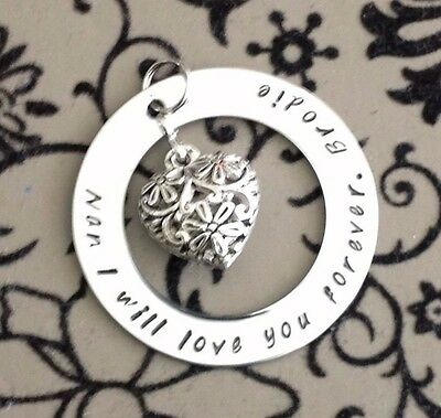 Personalised Hand Stamped Family Name/Any Wording Filigree Heart Pend/Necklace