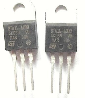 BTA16-600B  ST TRIAC 600V 16A 3-Pin TO-220A x2pcs
