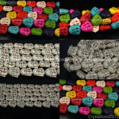 White Mixed Howlite Turquoise Gemstone Happy Face Buddha Head Loose Beads 15.5""
