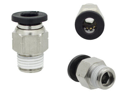 """10 x 5/16"""" OD x 1/8"""" NPT Male Straight One Touch Push to Connect Air Fitting"""