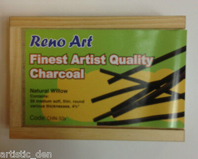 Finest Artist QUALITY Charcoal Willow Charcoal Assorted sizes F M S Pkt OF 50pcs