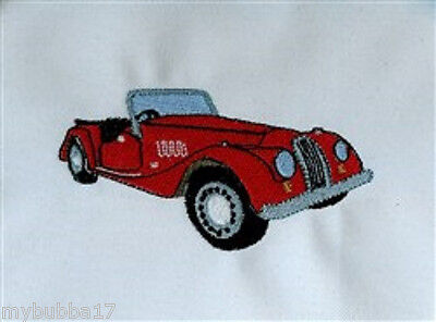 MORGAN CAR NEW SET OF 2 BATH HAND TOWELS EMBROIDERED BY LAURA