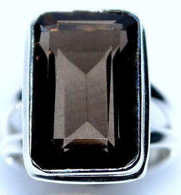 Smoky Quartz Ring Solitaire Rings 925 Sterling Silver All Sizes L, 5½  to Y, 11½