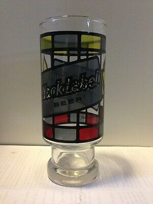Vintage BLACK LABEL BEER GLASS FOOTED CARLING RARE Stained Glass
