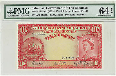 Bahamas 10 shillings Pick 14d dated 1953 Uncirculated PMG 64 EPQ