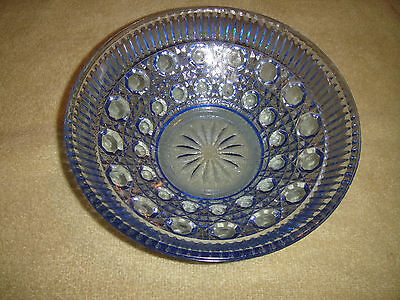 Superb Blue Cut Glass Bowl-Light Blue Glass-Etched & Ribbed Pattern-Lovely