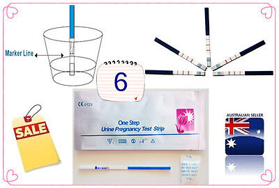 6 X One Step Urine Pregnancy Test Strip Early Test  Free Postage  Tga Approved