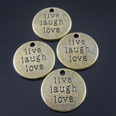 30X Vintage Style Bronze Tone Live Laugh Life Motto Pendant Charms 19*19*2mm