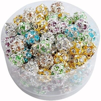 10 Pcs Colorful Austria Crystal Silver Plated Spacer Beads Charms 6 8 10 mm