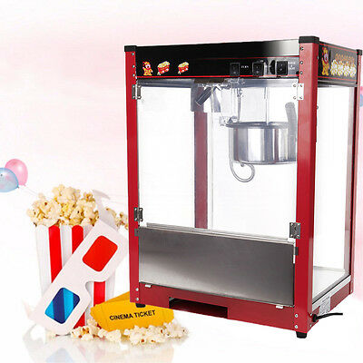 8oz Commercial Popcorn Pop Corn Maker Cooker Popper Machine 1/2 Pan/min 1370W