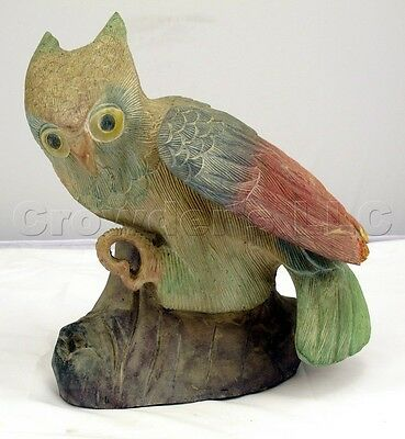 Large Heavy Decorative Multi Color Painted Wooden Owl - Made in Thailand