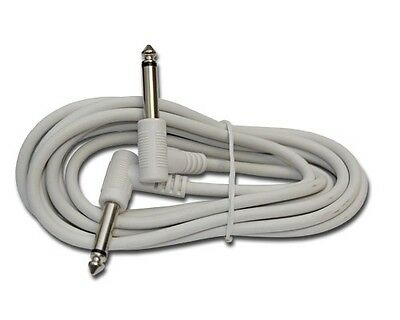WHITE RIGHT ANGLE 1/4 mono guitar to effects pedal patch cable cord 6 ft foot