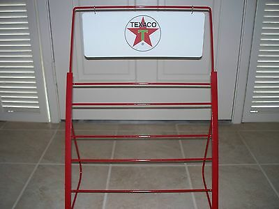 TEXACO  RED QUART OIL CAN DISPLAY RACK  made in AMERICA BY AN AMERICAN