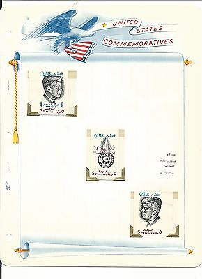 Qatar Postage Stamps, John F. Kennedy, #101-101b Imperf Blue Mint NH, 1966