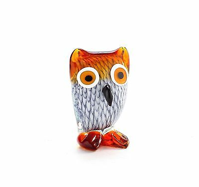 "New 4"" Hand Blown Art Glass Owl Bird Figurine Sculpture Statue White Amber"