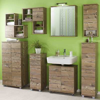komplett badm bel set grau woodstripe badezimmerm bel badezimmer bad waschplatz eur 530 10. Black Bedroom Furniture Sets. Home Design Ideas