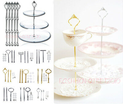 "Multi-Shape Cake Plate Stand Metal Handle Fitting Hardware Rod 3 Tier 12""/14"""