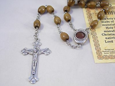 Authentic Olive Wood Rosary OVAL beads with Holy Earth soil holy land gift box
