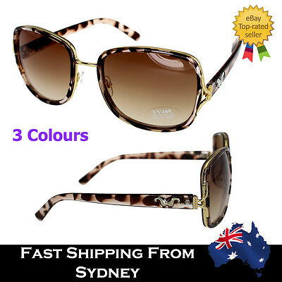 Vintage Accessory Women Sunglasses Nice Tortoise Brown Red Square Shade Gradient